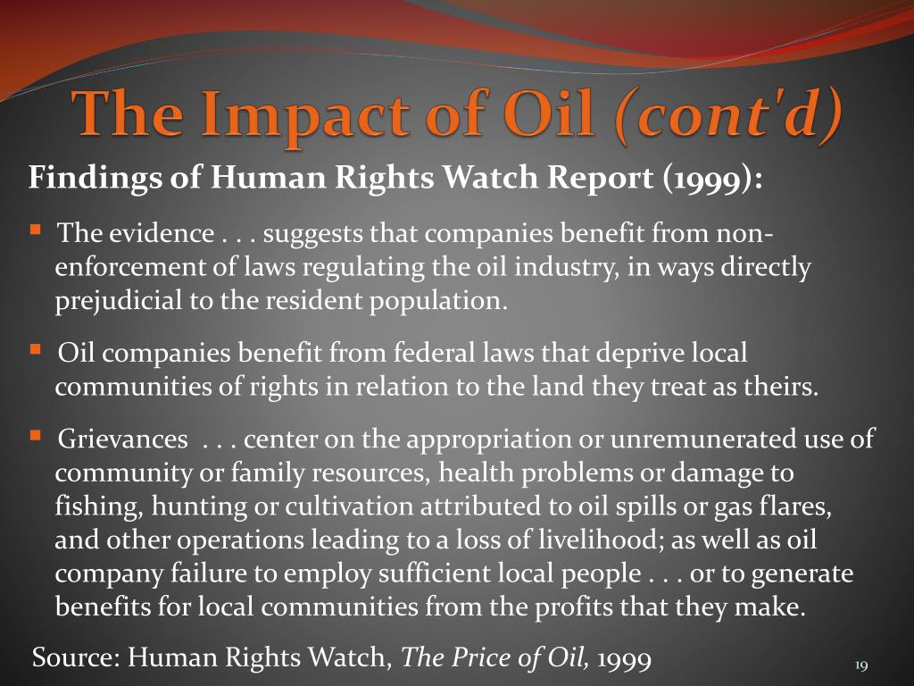 The Impact of Oil