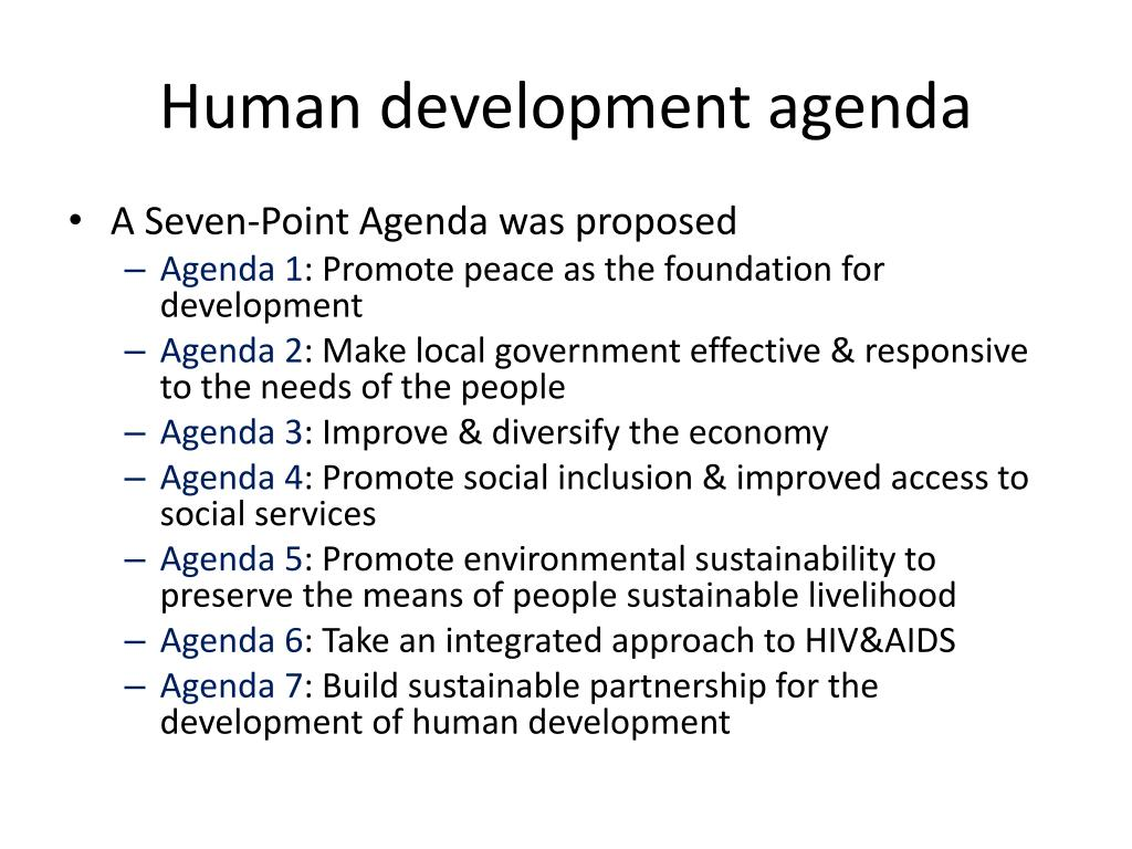 Human development agenda