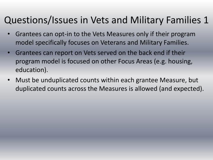 Questions/Issues in Vets and Military Families 1