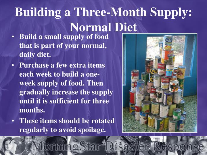 Building a Three-Month Supply: Normal Diet