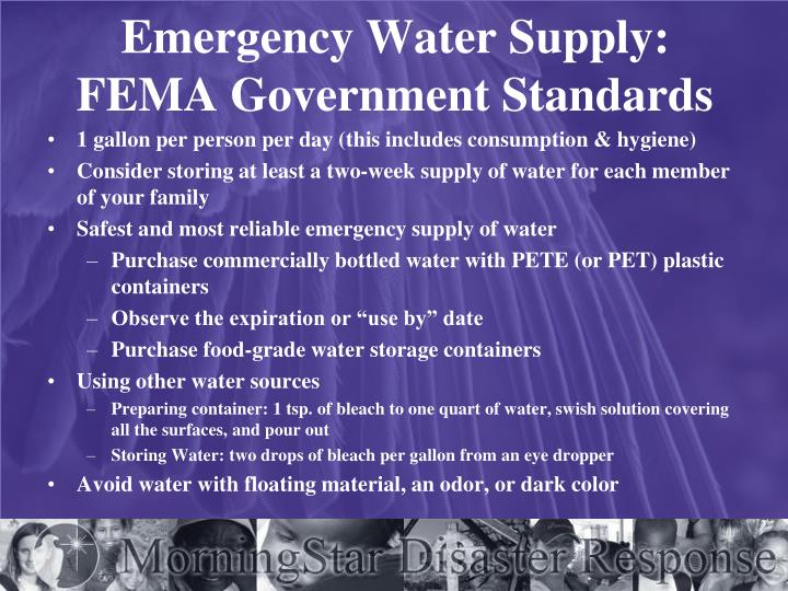 Emergency Water Supply: FEMA Government Standards