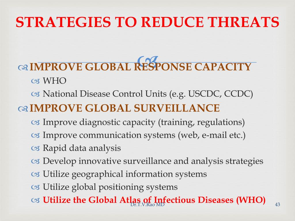 STRATEGIES TO REDUCE THREATS