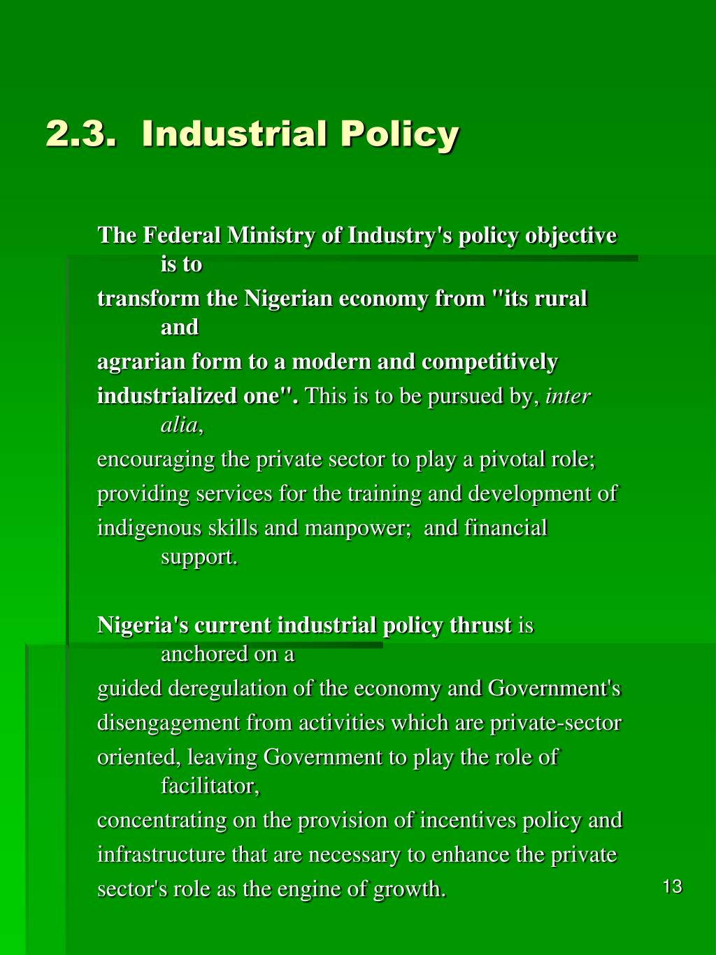 2.3.Industrial Policy