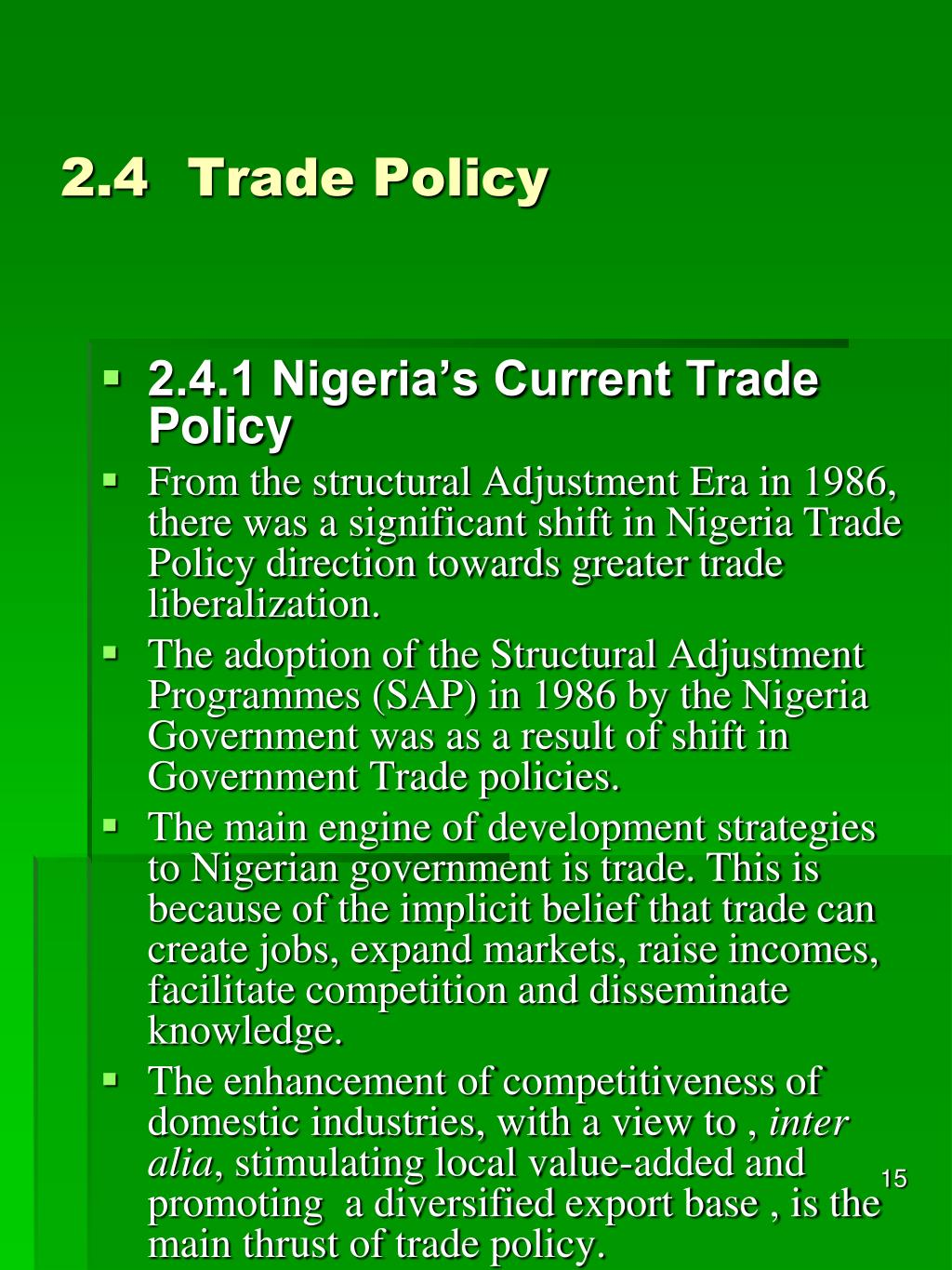 2.4Trade Policy
