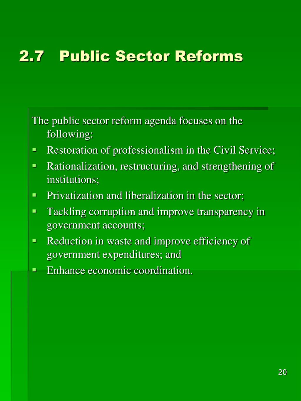2.7Public Sector Reforms