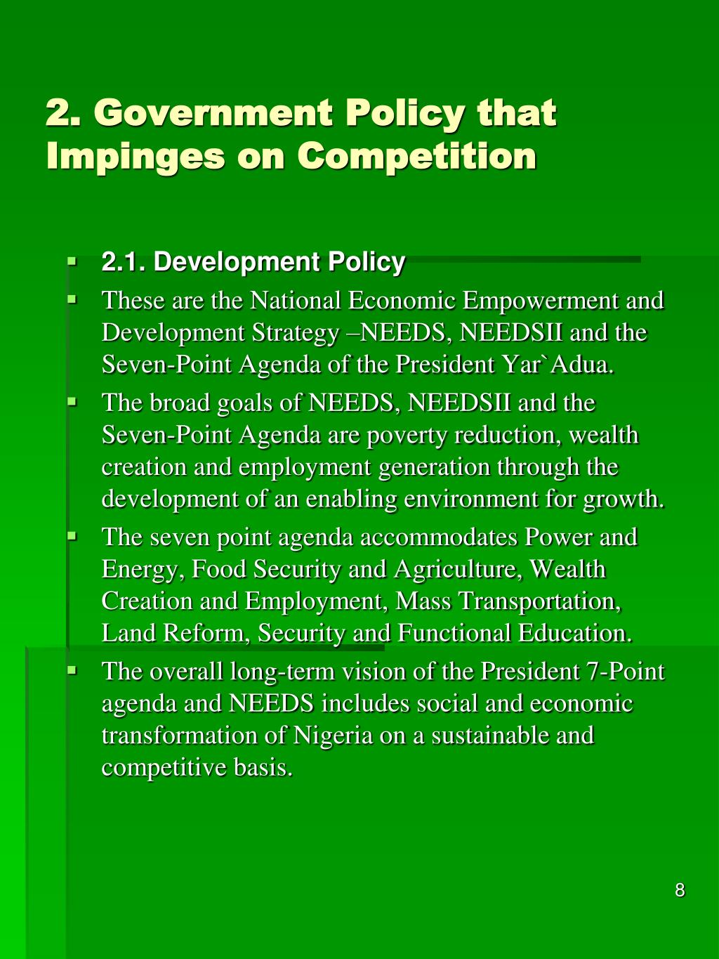 2. Government Policy that Impinges on Competition