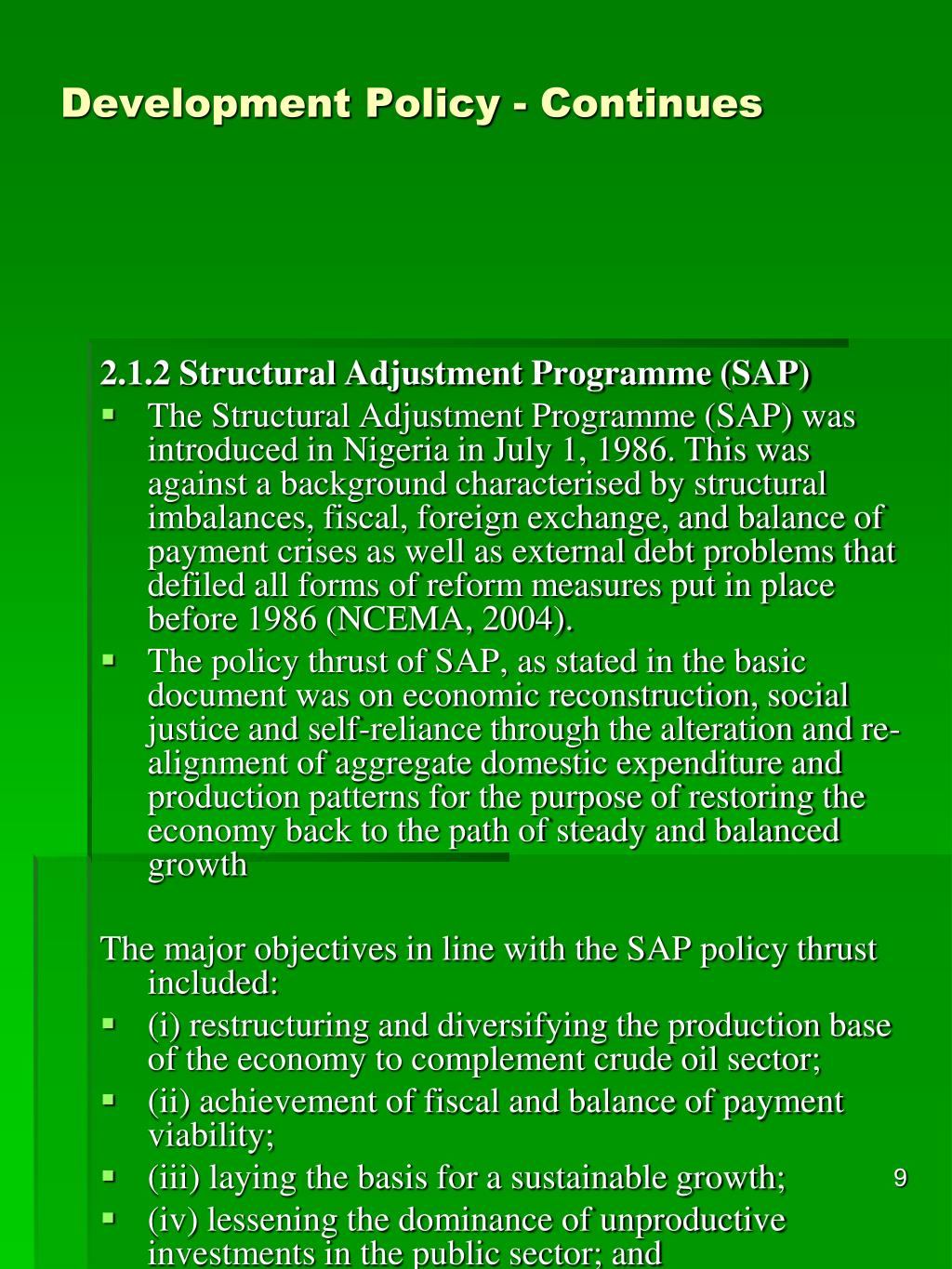 Development Policy - Continues