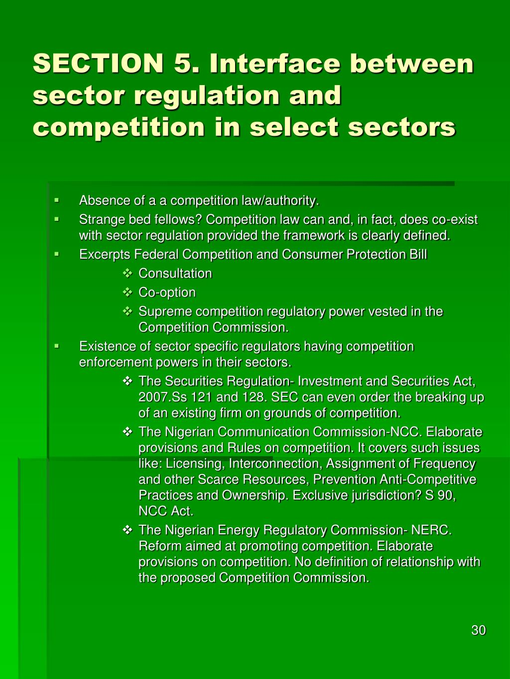 SECTION 5. Interface between sector regulation and competition in select sectors