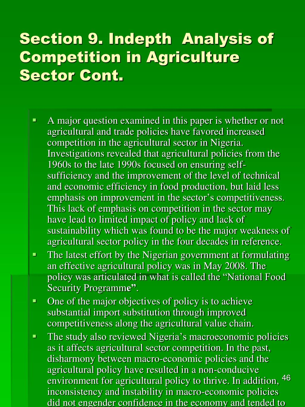 Section 9. Indepth  Analysis of Competition in Agriculture Sector Cont.