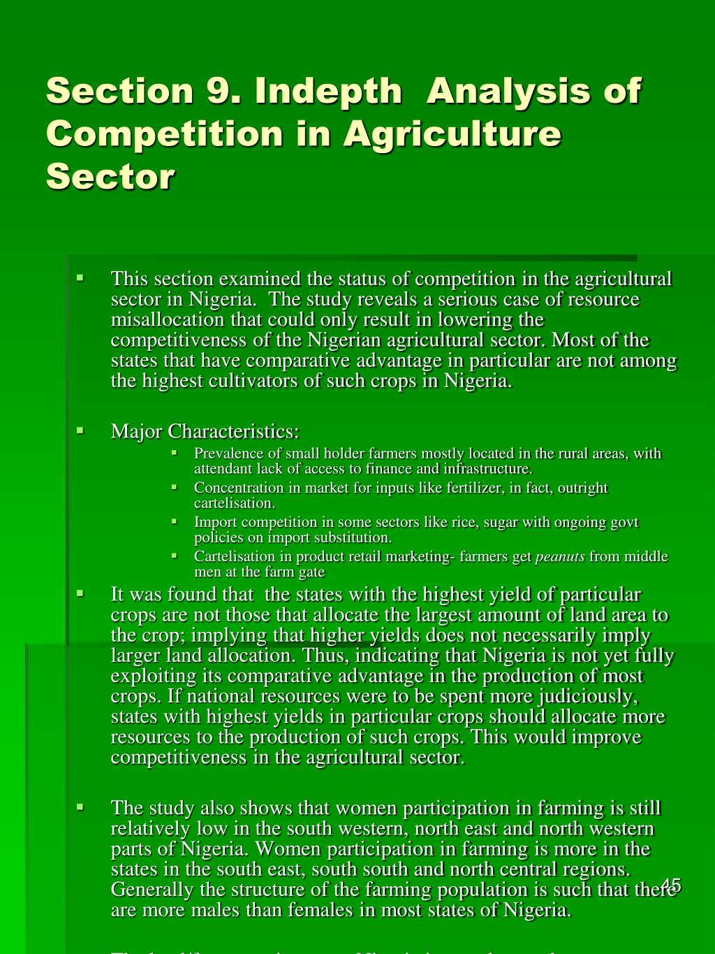 Section 9. Indepth  Analysis of Competition in Agriculture Sector