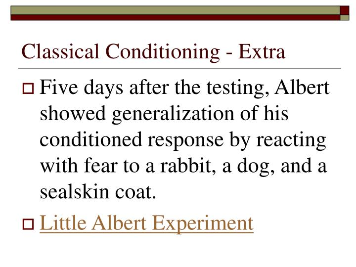 Classical Conditioning - Extra
