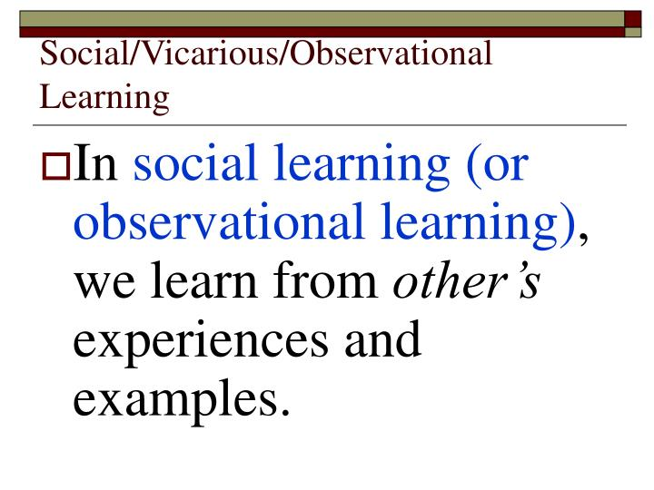 Social/Vicarious/Observational Learning