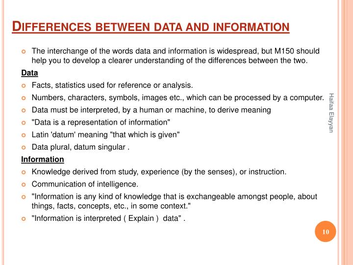 Differences between data and information