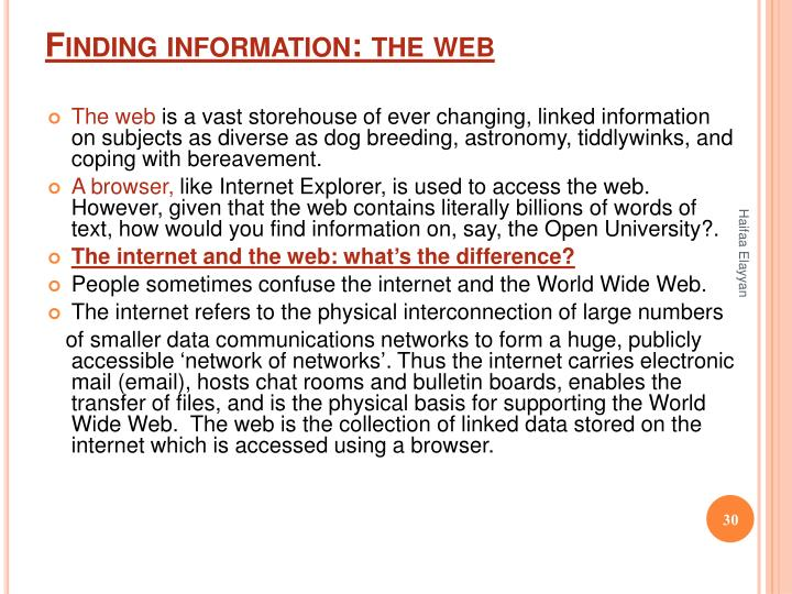 Finding information: the web