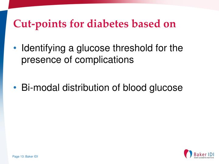 Cut-points for diabetes based on