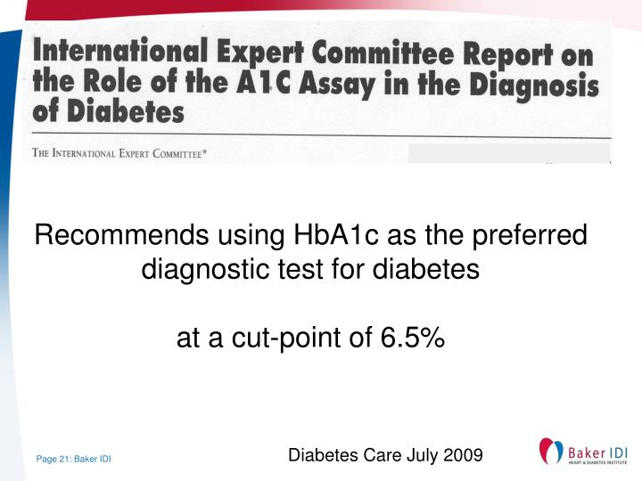 Recommends using HbA1c as the preferred diagnostic test for diabetes