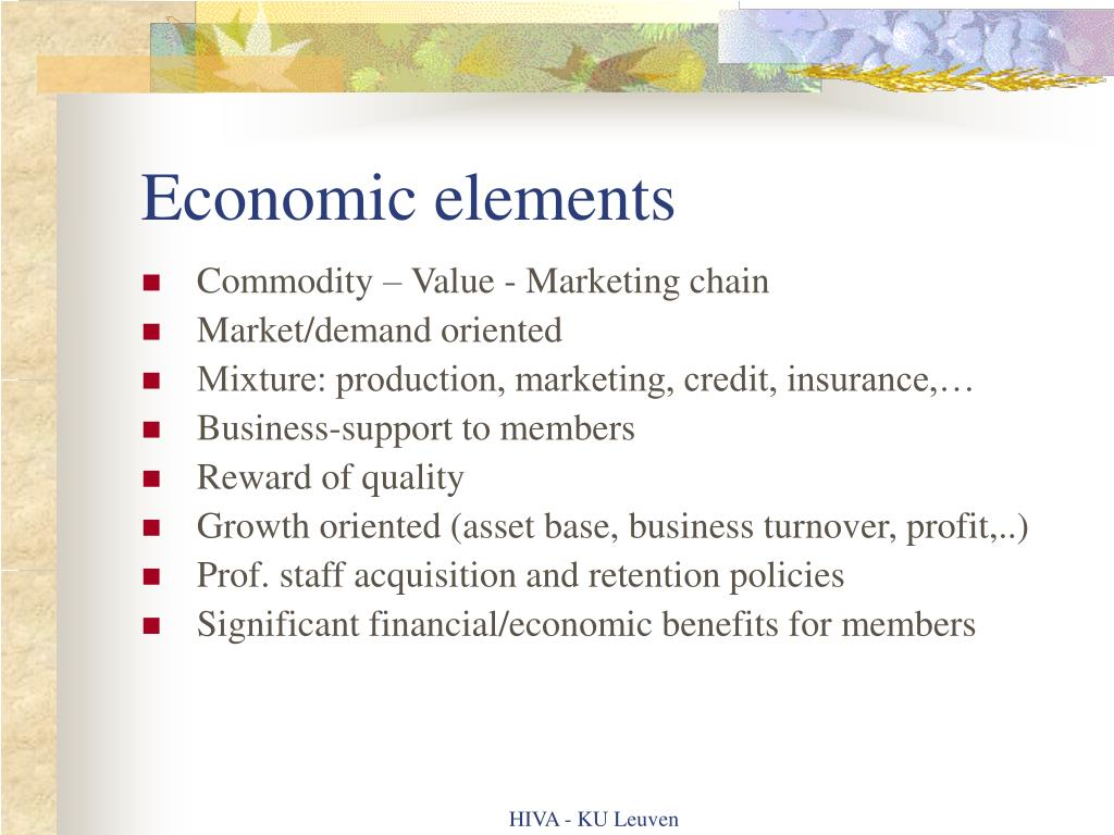 Economic elements