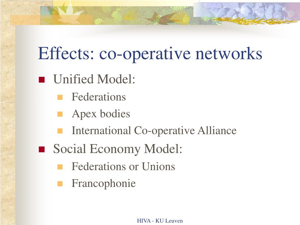 Effects: co-operative networks