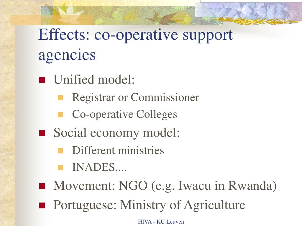 Effects: co-operative support agencies