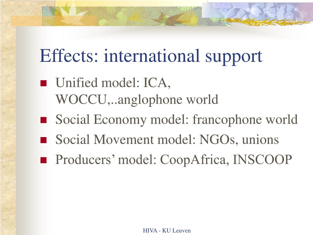Effects: international support