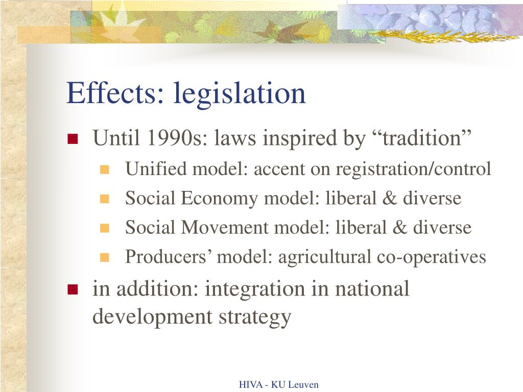 Effects: legislation