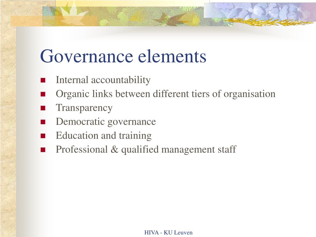 Governance elements