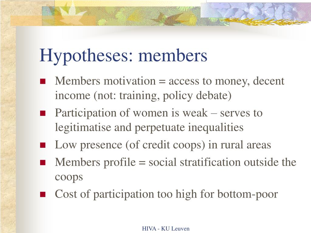 Hypotheses: members
