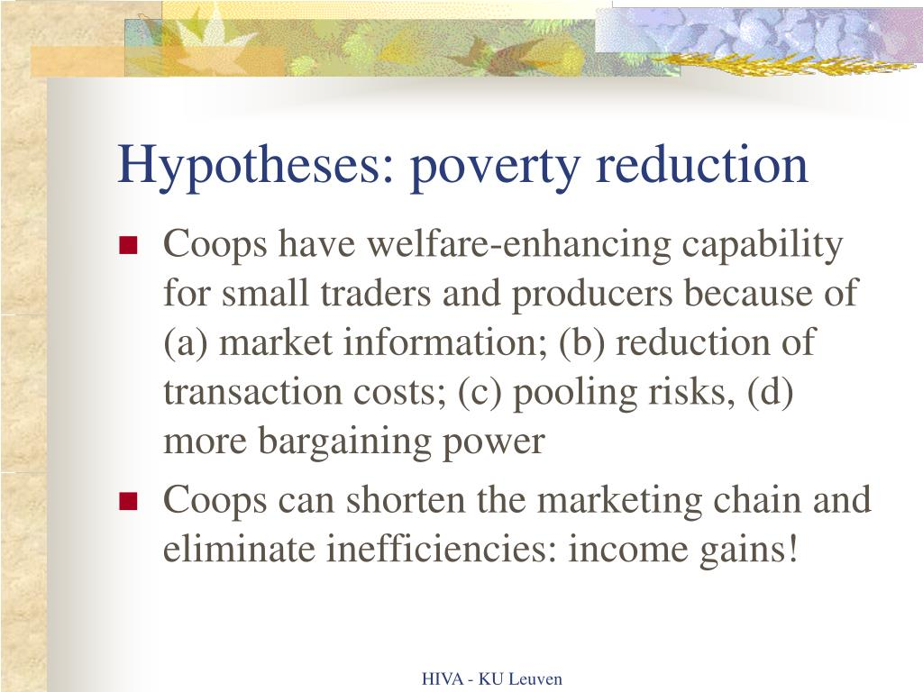 Hypotheses: poverty reduction