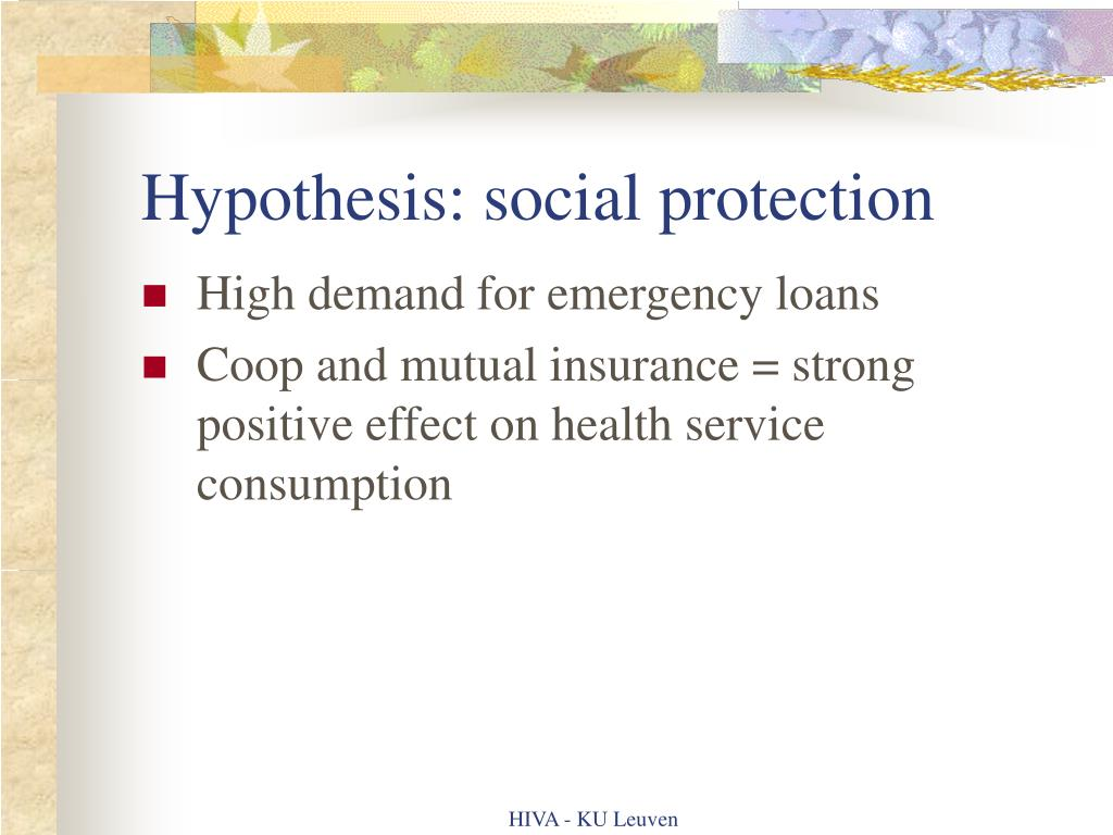 Hypothesis: social protection