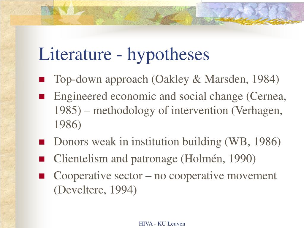 Literature - hypotheses