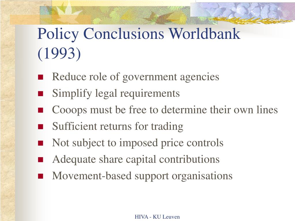 Policy Conclusions Worldbank (1993)