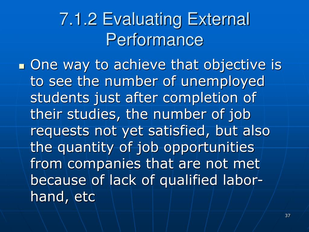 7.1.2 Evaluating External Performance