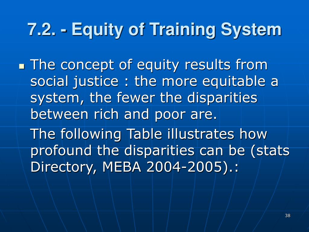 7.2. - Equity of Training System