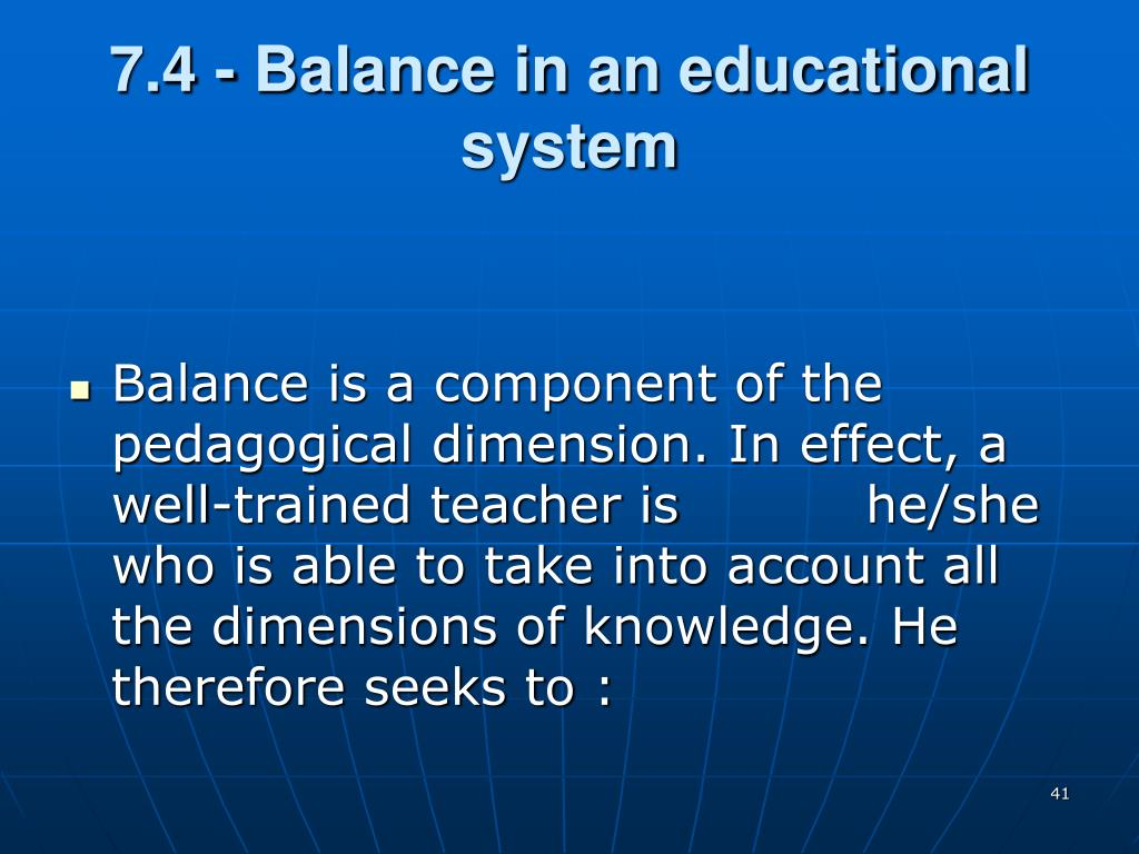 7.4 - Balance in an educational system