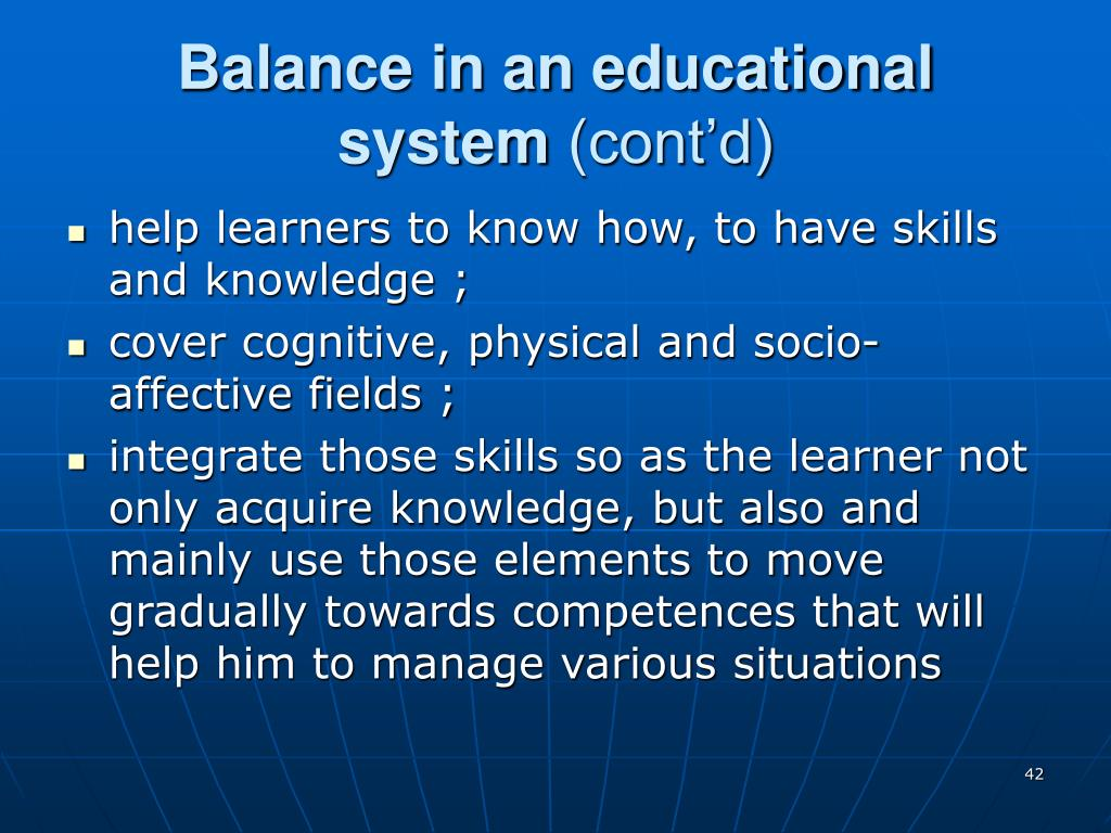 Balance in an educational system