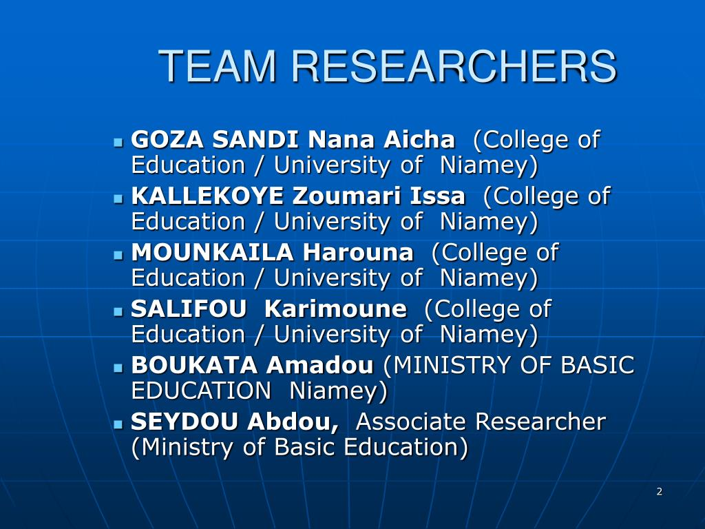 TEAM RESEARCHERS