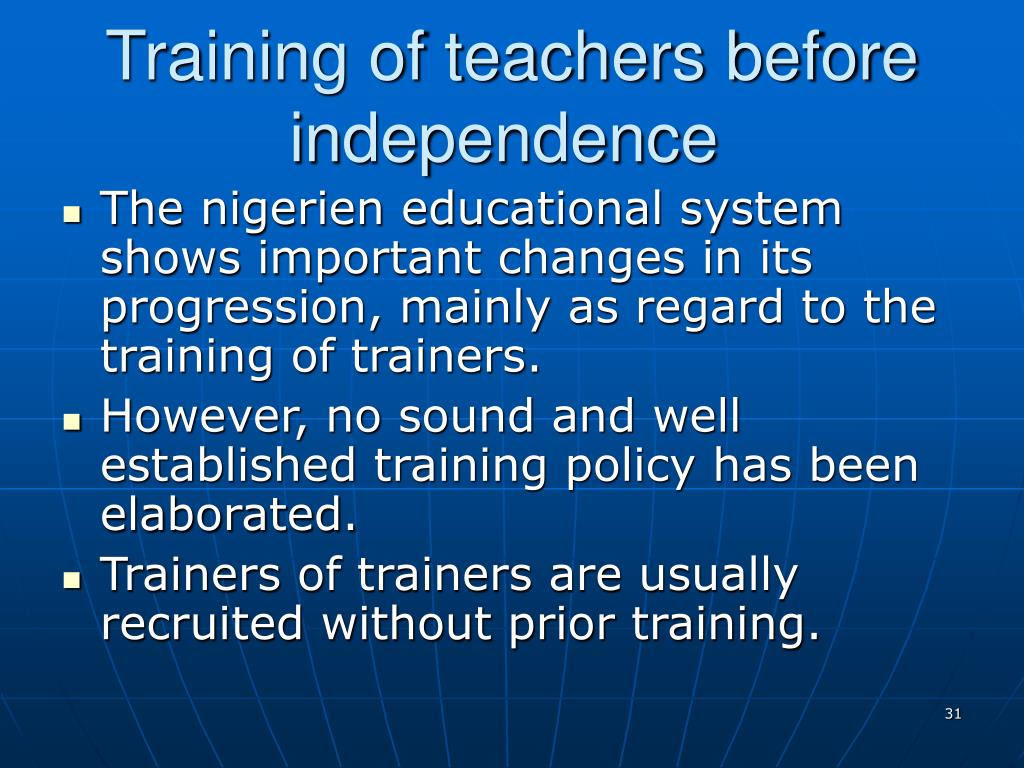 Training of teachers before independence