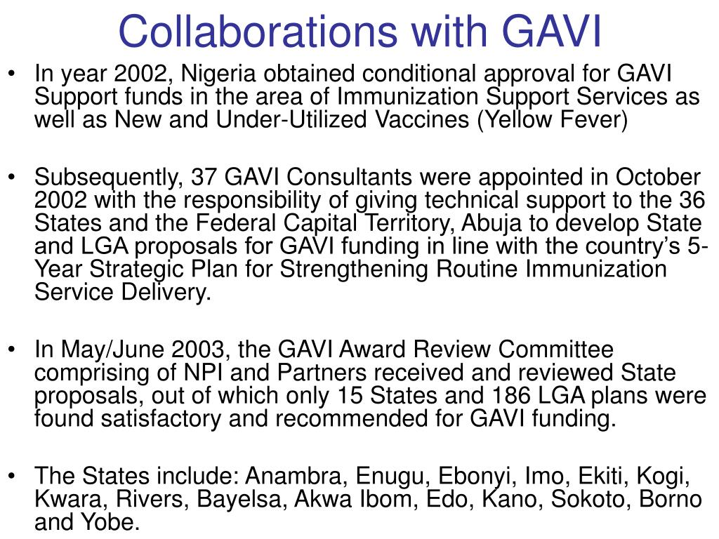 Collaborations with GAVI