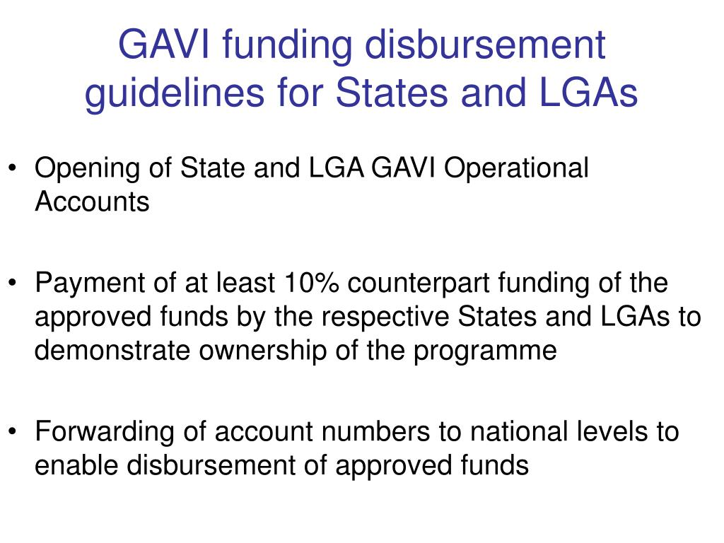 GAVI funding disbursement guidelines for States and LGAs