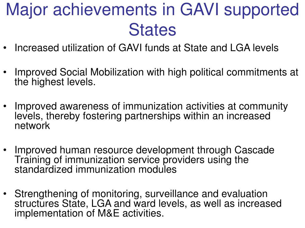 Major achievements in GAVI supported States