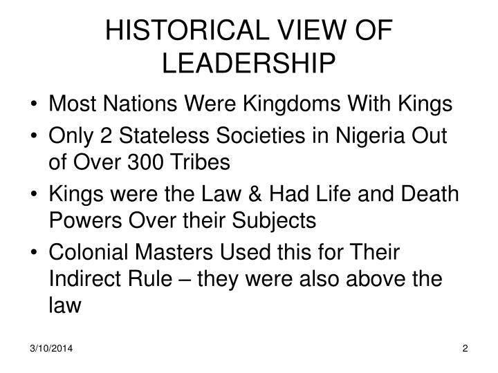 Historical view of leadership