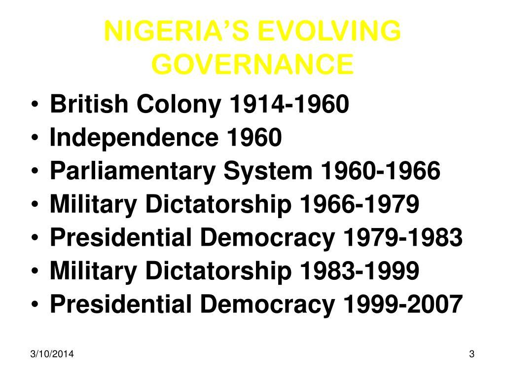 NIGERIA'S EVOLVING GOVERNANCE