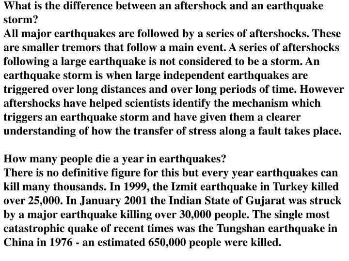 What is the difference between an aftershock and an earthquake storm?