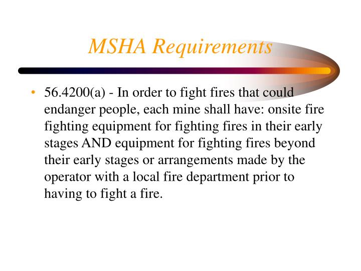 MSHA Requirements