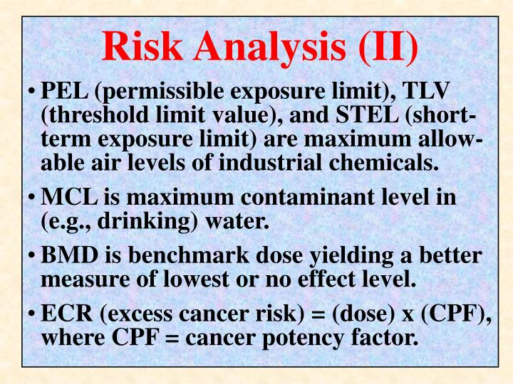 Risk Analysis (II)