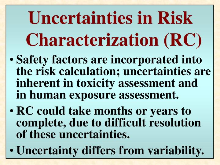 Uncertainties in Risk Characterization (RC)