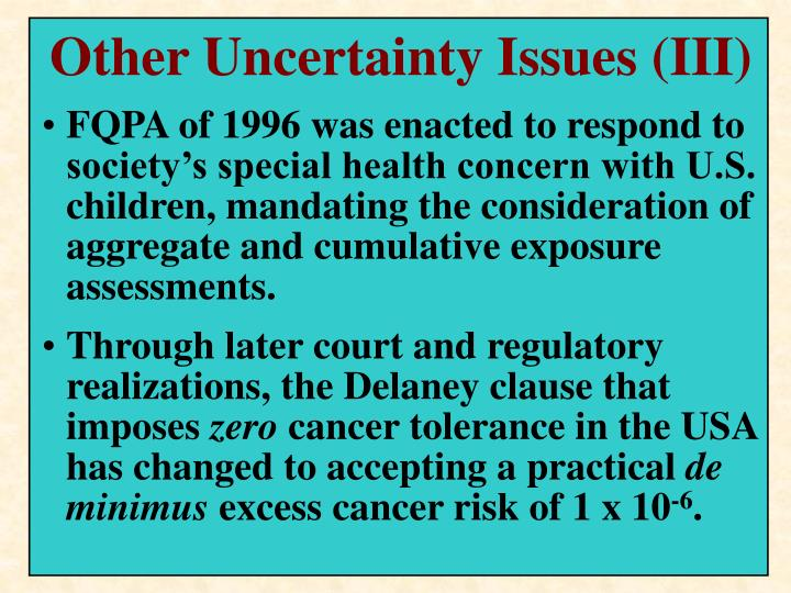 Other Uncertainty Issues (III)