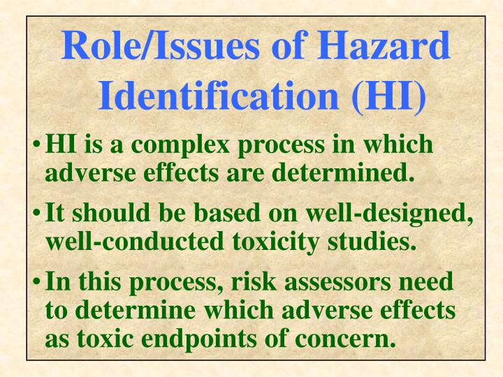Role/Issues of Hazard Identification (HI)