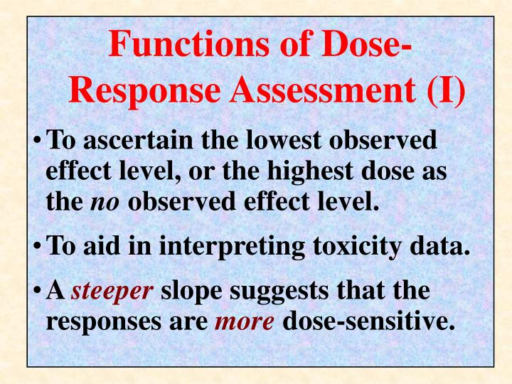 Functions of Dose-Response Assessment (I)