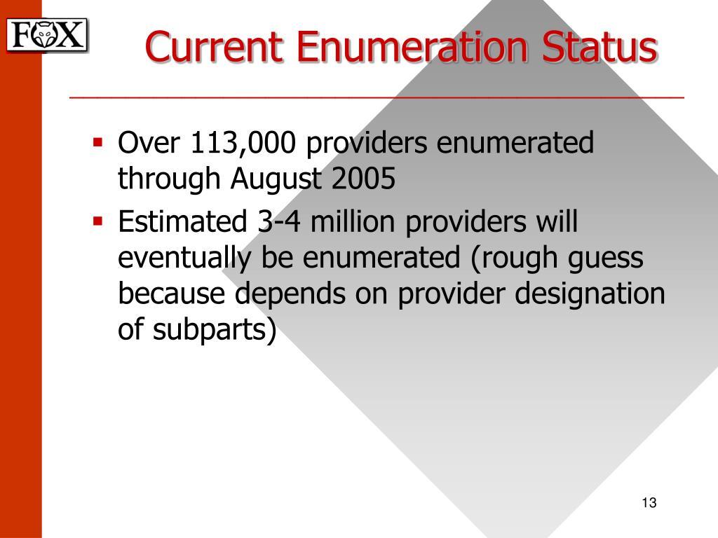 Current Enumeration Status